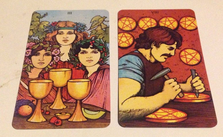 Three of Cups, Eight of Coins